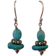 SOLD Turquoise and Peruvian Amazonite Earrings - Red Tag Sale Item