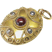 SALE Antique Victorian 15k Gold Garnet & Seed Pearl Locket Pendant