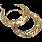 SALE Antiqur Victorian c1900 9k Gold Hoop Earrings