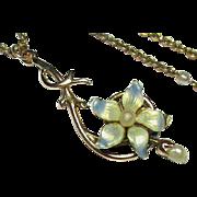 Antique Art Nouveau 9k Gold Enamel & Seed Pearl Pendant Necklace with chain