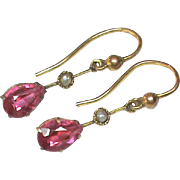Antique Edwardian 9k Gold Pink Paste & Seed Pearl Earrings