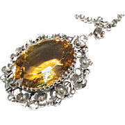 Antique Arts & Crafts Sterling Silver CITRINE Pendant Necklace