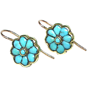 Antique Victorian 18k Gold Turquoise Earrings