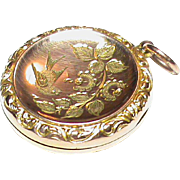 Antique English 1911 9k Gold Locket Pendant with etched swallow