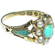 English Antique early Victorian 1846 18k Gold Natural Seed Pearl, Turquoise & Enamel Ring with