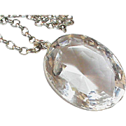 Large Antique Victorian Sterling Silver Rock Crystal Pendant on chain