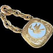SALE Antique Victorian 9k Gold Back & Front Blue Enamel Handbag Locket Charm