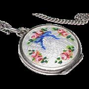 SALE Antique Edwardian Silver Enamel Locket Pendant with chain
