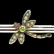 SALE Antique Edwardian 9k Gold Seed Pearl Peridot & Ruby Dragonfly Brooch