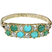SALE Antique Victorian 18k Gold Diamond & Turquoise Ring