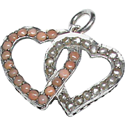 SALE Antique Victorian c1900 Sterling Silver Coral & Seed Pearl Double Heart Pendant