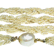 Antique Georgian Natural Seed Pearl Long Necklace with 15k Gold Clasp