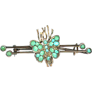 Antique Victorian Sterling Silver gilt Turquoise Butterfly Brooch