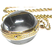 Quality Antique Victorian 9k Gold Pools of Light Crystal Ball Locket Pendant & Chain