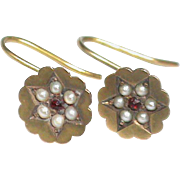 SALE Antique Victorian 9k Gold Seed Pearl & Garnet paste Earrings