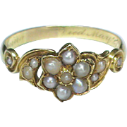 SALE Antique Victorian 1847 15k Gold Seed Pearl Mourning Locket Ring