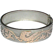 SALE Antique Victorian French Silver 800-900 Bangle with rose gold vermeil Dragon