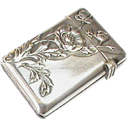 Antique Art Nouveau French Silver 800-900 Flower Vesta Case Box Match Striker