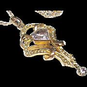 Antique Art Nouveau 9k Gold Amethyst & Seed Pearl Pendant & 9ct Chain