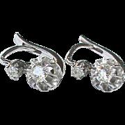 Antique Edwardian French 18k White Gold Diamond Earrings