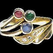 SALE Stylish 14k Gold Diamond Sapphire Ruby & Emerald Ring