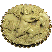 Fabulous Antique Victorian 9k Gold carved LAVA Cameo Brooch of Eros