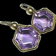 Antique Victorian 15k Gold Amethyst Earrings