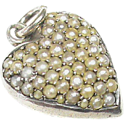 Antique Victorian Sterling Silver Seed Pearl Locket Heart Charm Pendant