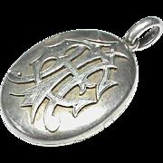 Quality Antique Victorian Sterling Silver AEI Hair Photo Locket