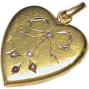 Antique Edwardian French 18k Gold Seed Pearl Heart Pendant