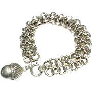 Antique Victorian French Silver 800-900 Bracelet with Acorn Charm