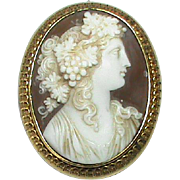 Antique Victorian 15k Gold carved Cameo Brooch depicting Bacchante