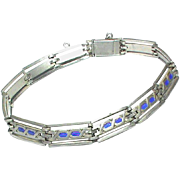Antique Edwardian Sterling Silver Enamel Bracelet by Murrle Bennett & Co