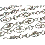 Antique Arts & Crafts French Silver 800-900 Long Guard Chain Sautoir Necklace 55""