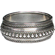 Antique Victorian Sterling Silver Wide Bangle