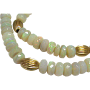 Vintage 14k Gold Opal Bead Necklace