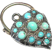 Antique Victorian Sterling Silver & 9k Gold Turquoise Witches Heart Padlock Pendant