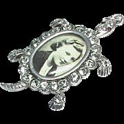 Antique Edwardian Sterling Silver Paste Locket Pendant modeled as a Tortoise