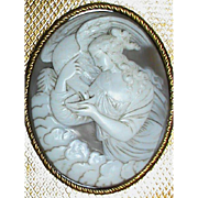 Antique Victorian carved Cameo in Travelling Box