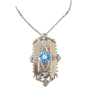 14k Yellow Gold LOCKET on chain with Turquoise & natural pearls