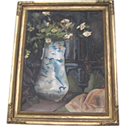 Lovely still life painting of a Chinese vase with roses