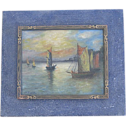 J.F.Roach oil on board oil painting of boats at sunset