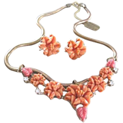 Gold filled Snake chain with sliding coral grouping celluloid carved hibiscus flowers plus mat