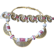 Boucher Retro gold plated swirl rhinestone necklace & matching wide bracelet