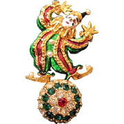 Animated CLOWN on a rhinestone ball PIN with simulated pearl accents