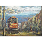 REDUCED Rare Helen Conser SF painting Hyde Street to Alcatraz