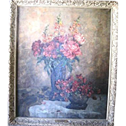 Vintage Still Life oil painting of flowers called Voice of Spring by listed artist Marie ...