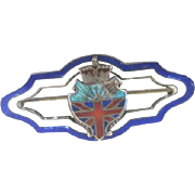 Enameled sterling pin in pretty colors with a crown