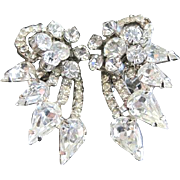 Unsigned Juliana all rhinestone rhodium plated clip earrings