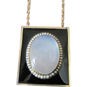 15k yellow gold Georgian mourning pendant with huge cab moonstone center surrounded by pearls